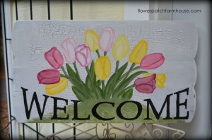 Spring welcome sign with tulips, hand painted, FlowerPatchFarmhouse.com