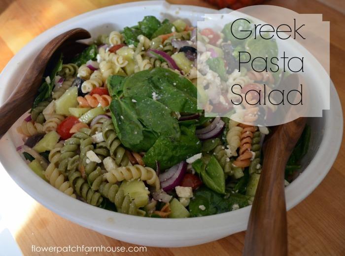 Greek Pasta Salad, FlowerPatchFarmhouse.com