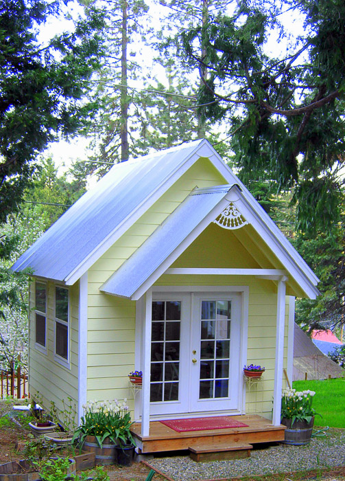 Build Your Own Crafting Cottage or Garden Shed - Flower ... on Farmhouse Backyard Patio id=39256