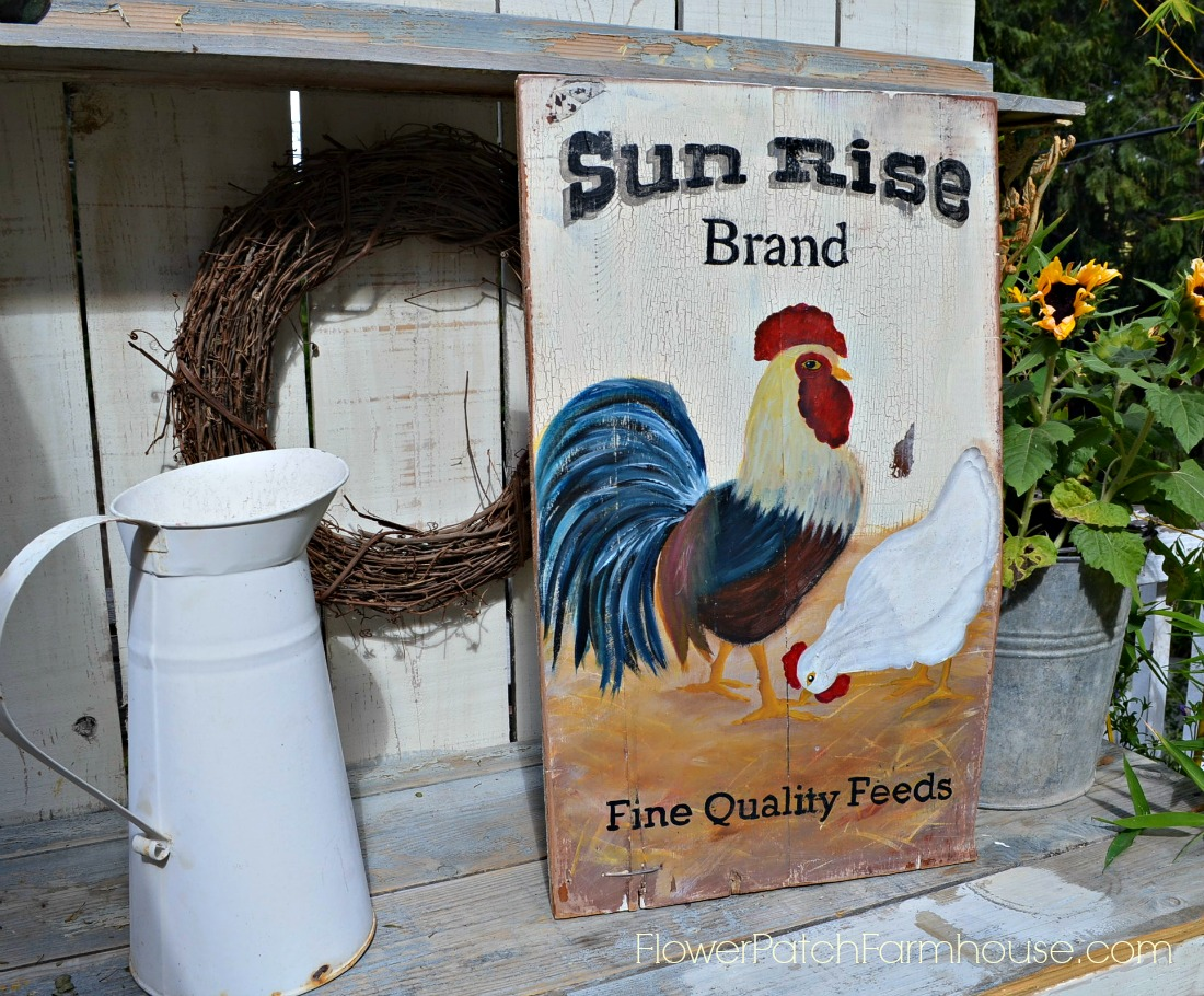 vintage feed sack rooster advertisement farmhouse sign