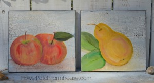 apple and pear acrylic paintings
