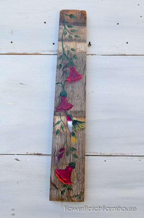 Hand Painted Hummingbird on wine barrel stave, FlowerPatchFarmhouse.com