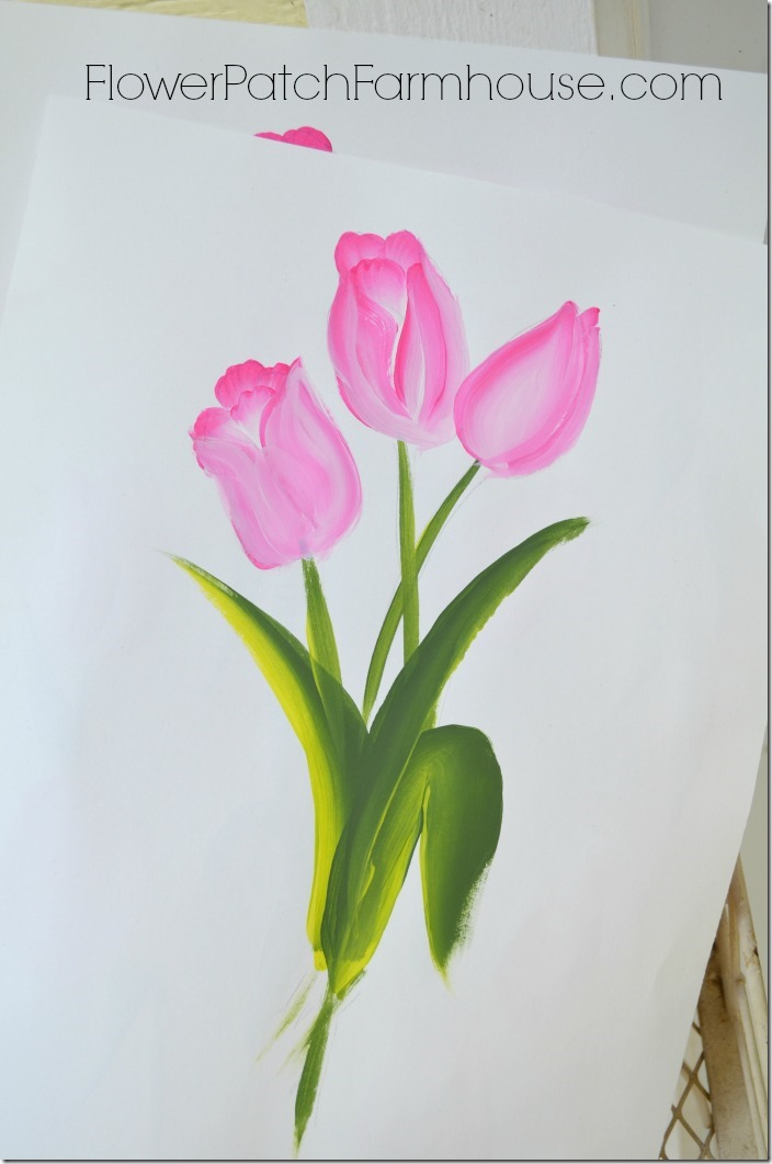 Learn to paint tulips fast and easy flower patch farmhouse for Easy way to paint flowers