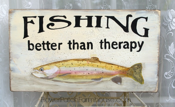 Fishing better than therapy sign