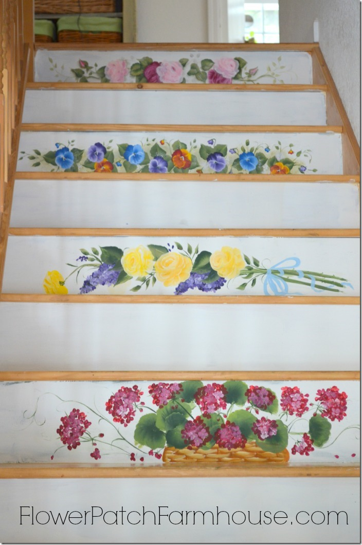 Painting Flowers on the Stairs, FlowerPatchFarmhouse.com