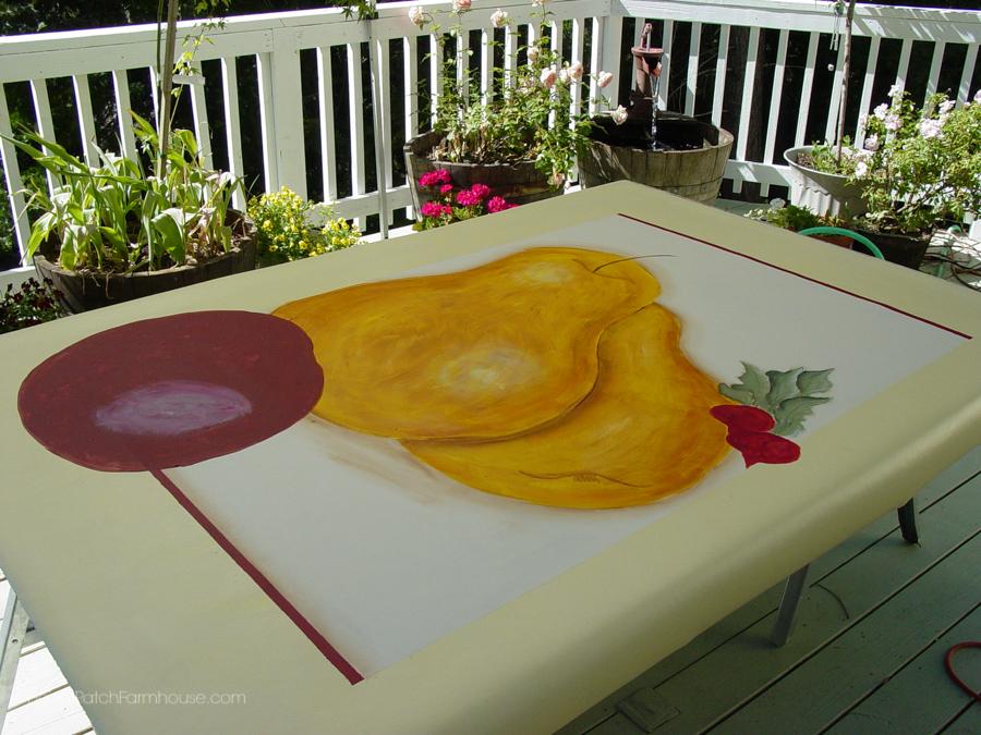 hand painted floor cloth on linoleum