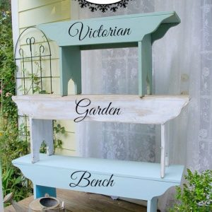 Three farmhouse benches stacked up, with text overlay, DIY Victorian Garden Bench, Flower Patch Farmhouse
