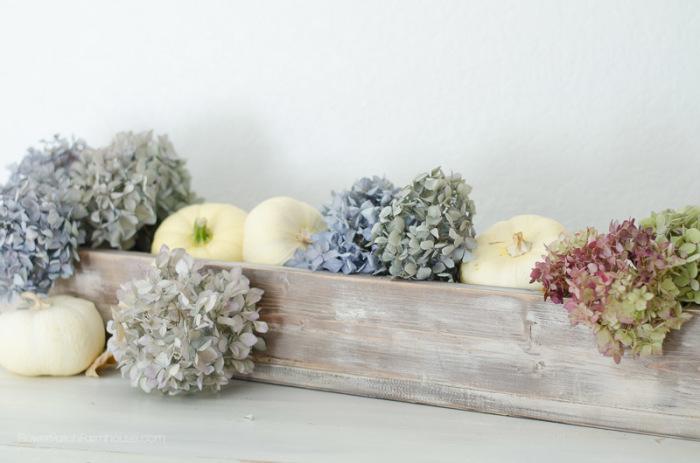 Rustic Vintage box, hydrangeas and white pumpkins, FlowerPatchFarmhouse.com