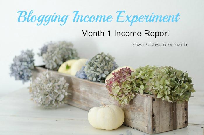 Blogging for Income Experiment, mont 1 income report, FlowerPatchFarmhouse.com