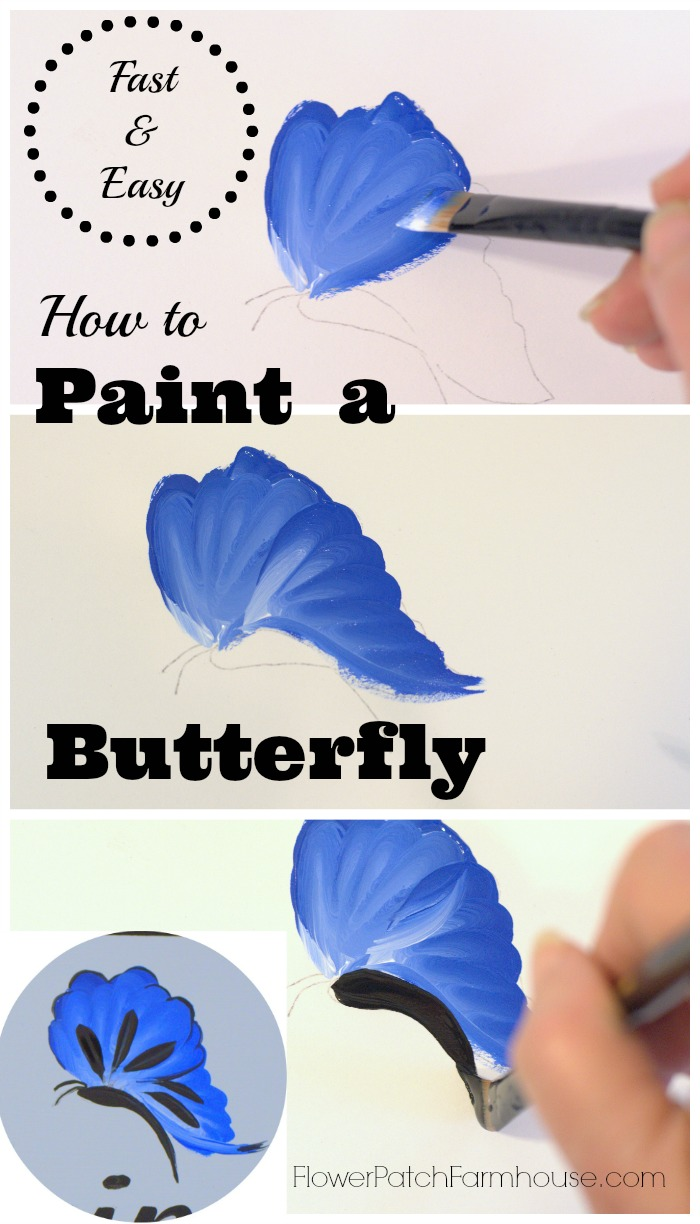 How to paint a blue butterfly flower patch farmhouse for How to paint a simple picture on canvas