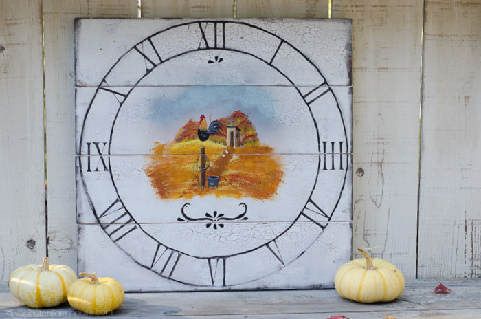 I hand painted a faux vintage Fall clock with an outhouse, roosters and hens. Just a fun piece for anyone who loves anything vintage and chickens.