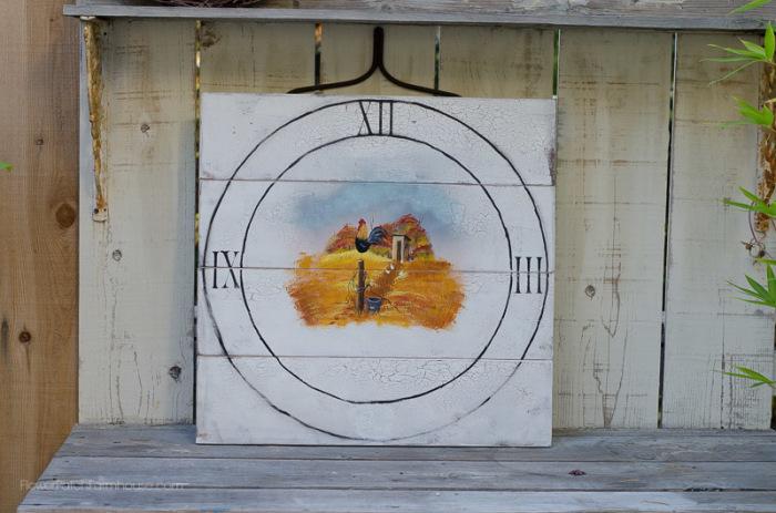 Hand Painted Faux Farmhouse clock, Flower Patch Farmhouse