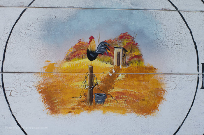 Close up of Faux Fall Farmhouse clock with roosters and outhouse, FlowerPatchFarmhouse.com