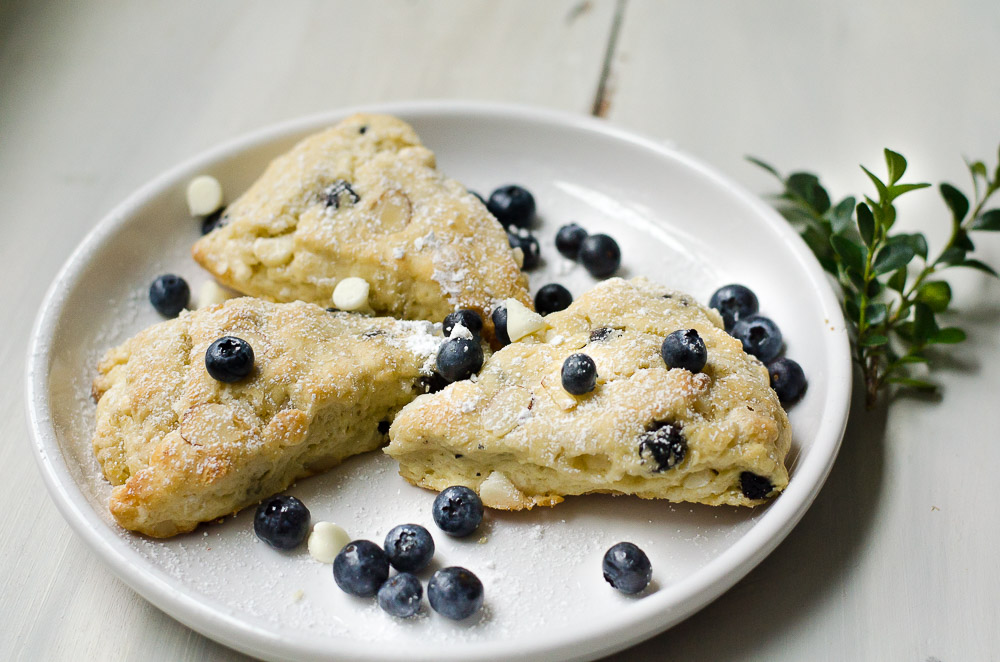 Blueberry White Chocolate Almond Scones - Flower Patch Farmhouse
