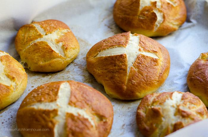 Fresh baked pretzel rolls, FlowerPatchFarmhouse.com