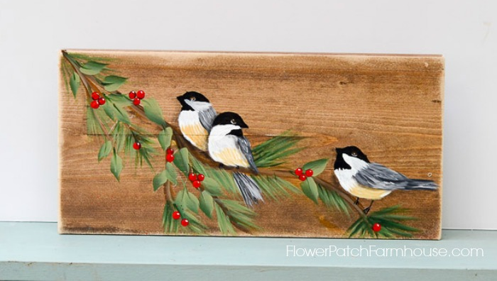 Diy tutorial white and green hand - Learn How To Paint A Chickadee Bird Flower Patch Farmhouse