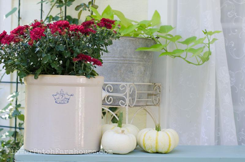 vintage crock on the cottage porch, FlowerPatchFarmhouse.com