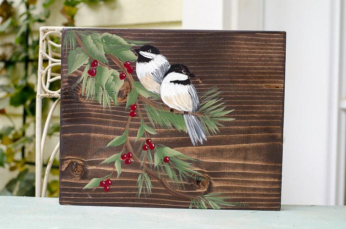 winter chickadees painting, FlowerPatchFarmhouse.com
