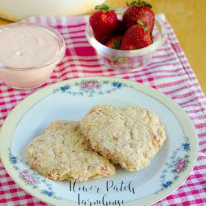 heart shaped scones with text overlay, Delicious Strawberry cream scones, Flower Patch Farmhouse