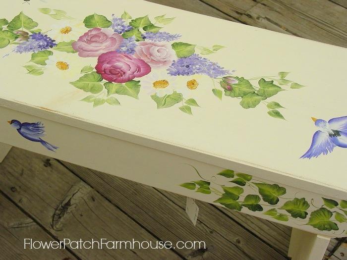 Hand Painted Birds and Bees Farmhouse Garden Bench, FlowerPatchFarmhouse.com