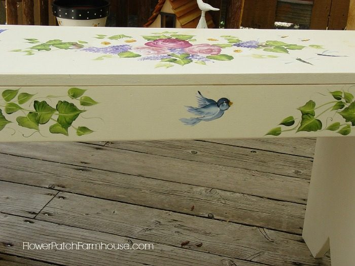 DIY Hand Painted Birds and Bees Garden Bench, FlowerPatchFarmhouse.com