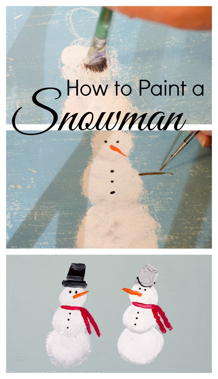 Learn how to paint a simple snowman flower patch farmhouse for How to learn to paint