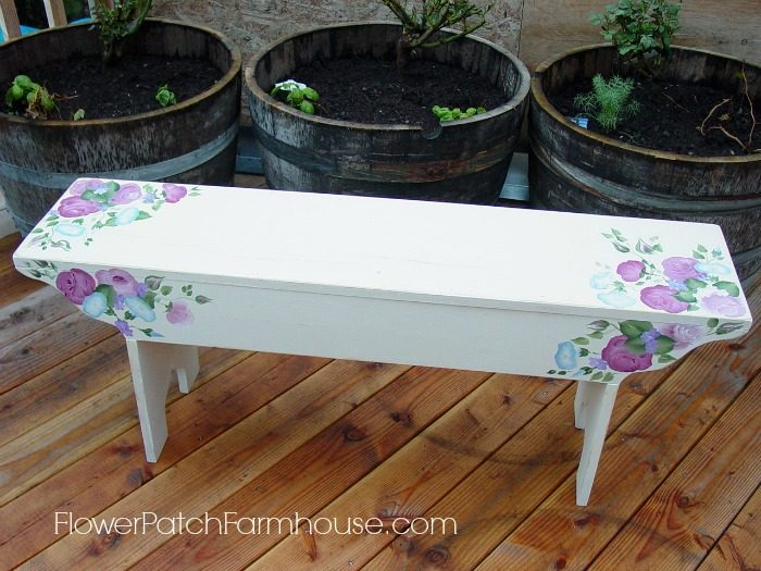 DIY Garden Bench with hand painted roses, FlowerPatchFarmhouse.com