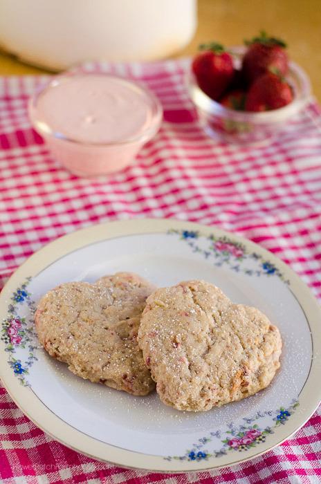 Strawberry Cream Scones with Toasted Almonds, FlowerPatchFarmhouse.com