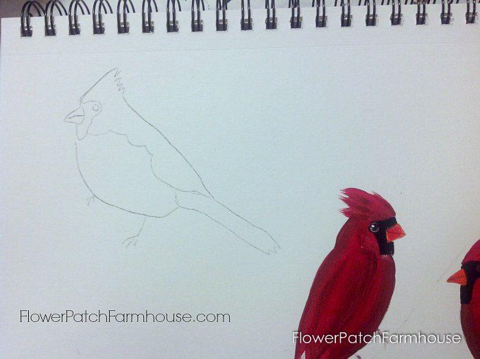 Cardinal painting tutorial, FlowerPatchFarmhouse.com (3 of 15)