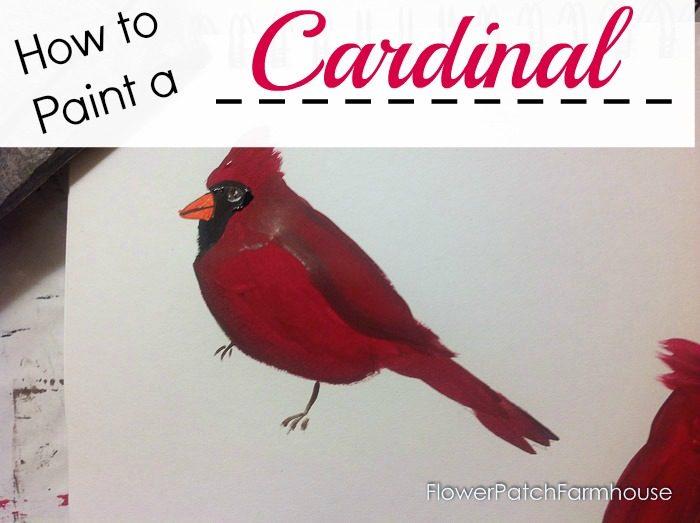 How to Paint a Cardinal bird, FlowerPatchFarmhouse.com