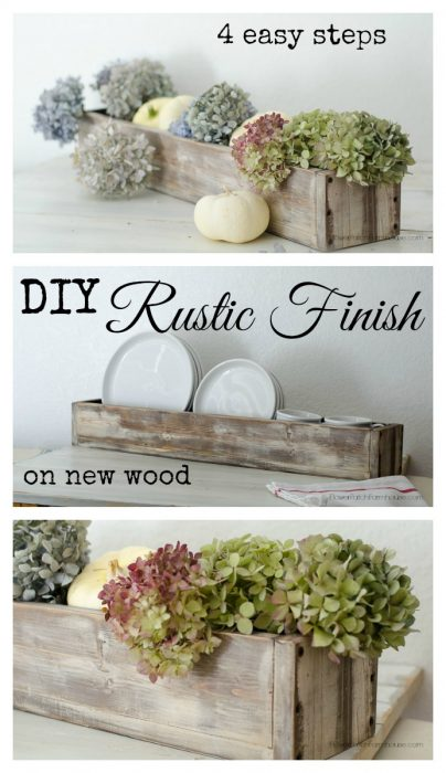 DIY Rustic Finish on New Wood in 4 Easy steps, FlowerPatchFarmhouse.com