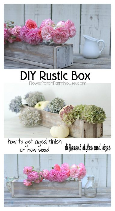 Build your own Rustic Box or Crate, links to aged finish. Great for table center piece, photo props or planters. The uses are limitless! FlowerPatchFarmhouse.com