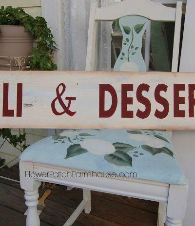 Deli & Desserts hand painted sign, FlowerPatchFarmhouse.com