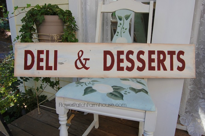Deli & Desserts hand painted sign, FlowerPatchFarmhouse.com