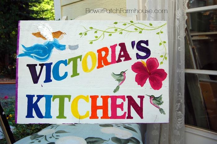 Victoria's Kitchen blue sign, FlowerPatchFarmhouse.com