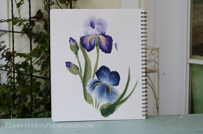 Learn how to paint an Iris, one stroke at a time, FlowerPatchFarmhouse.com
