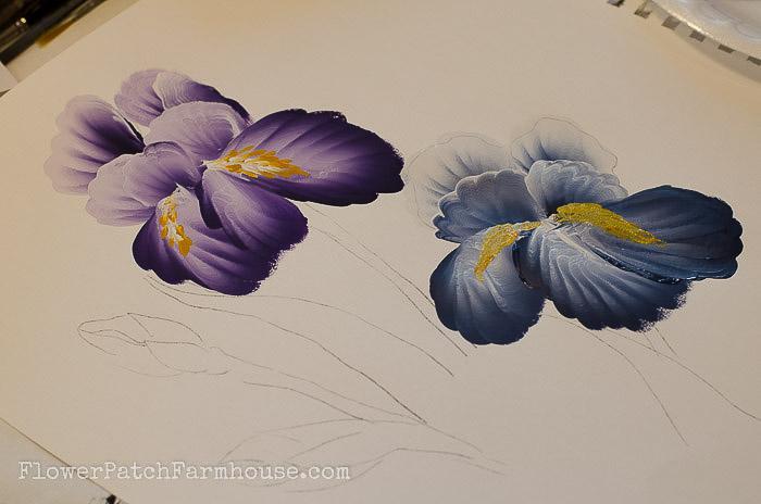 learn to paint an iris, FlowerPatchFarmhouse.com