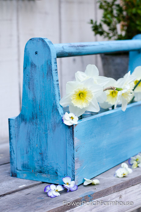 DIY Rustic Blue Tool Box, FlowerPatchFarmhouse.com