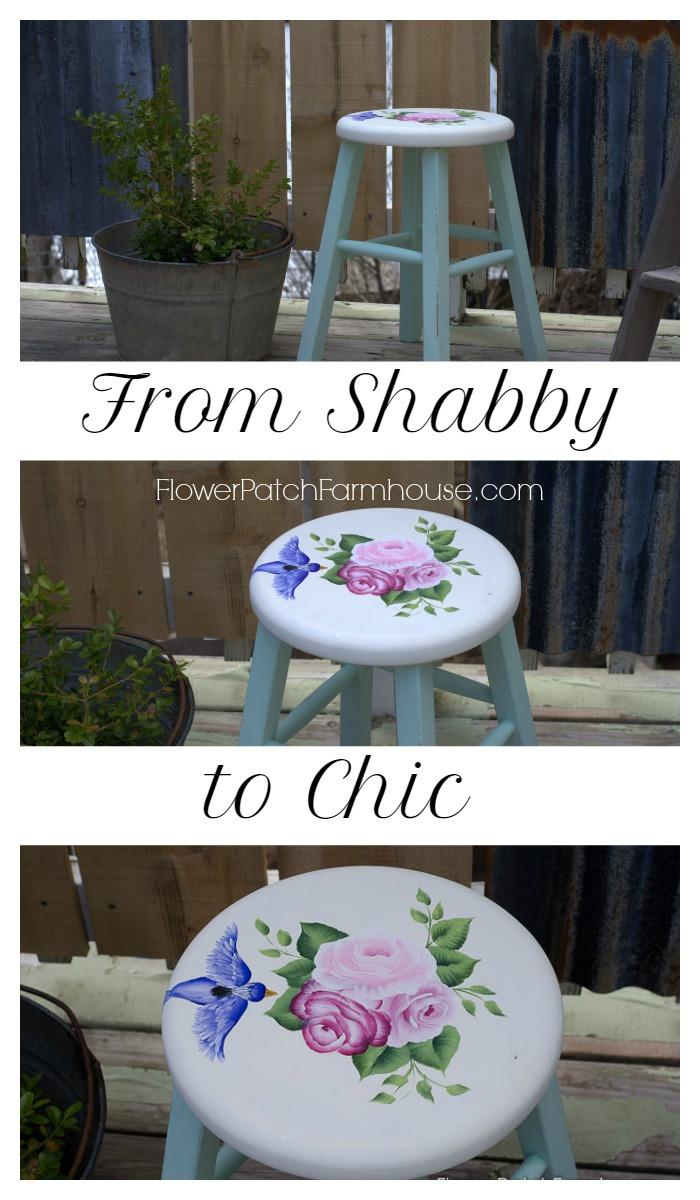 Shabby little stool makeover, FlowerPatchFarmhouse.com