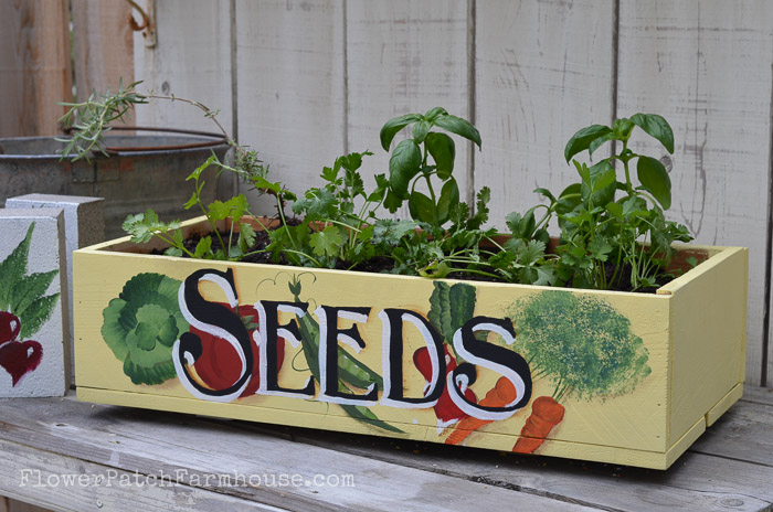 Plant a kitchen herb garden in a crate and place at your back door, FlowerPatchFarmhouse.com