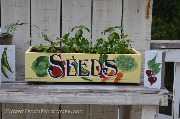 Plant a kitchen herb garden at your backdoor in this DIY crate. FlowerPatchFarmhouse.com