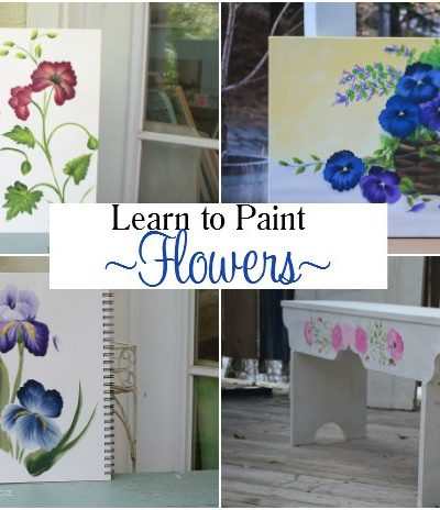 Learn How to Paint Flowers at home, easy enough for beginners and videos are included for free. Grab your brushes and lets Paint! FlowerPatchFarmhouse.com