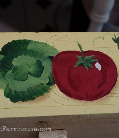 Veggie paintings on DIY herb planter, FlowerPatchFarmhouse.com