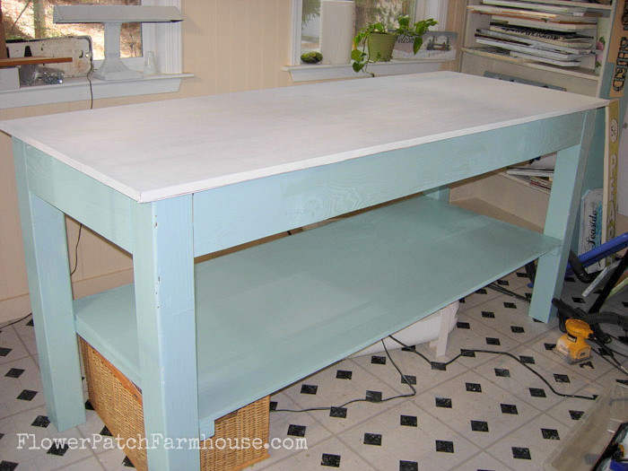 My favorite work bench, it is invaluable, I use it daily in my cottage studio, FlowerPatchFarmhouse.com