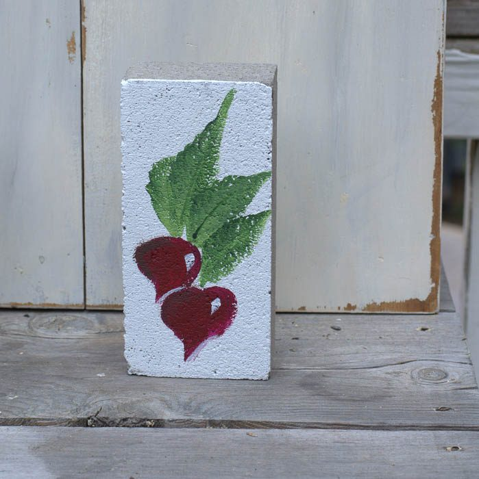 How to paint a Radish garden marker on brick, FlowerPatchFarmhouse.com