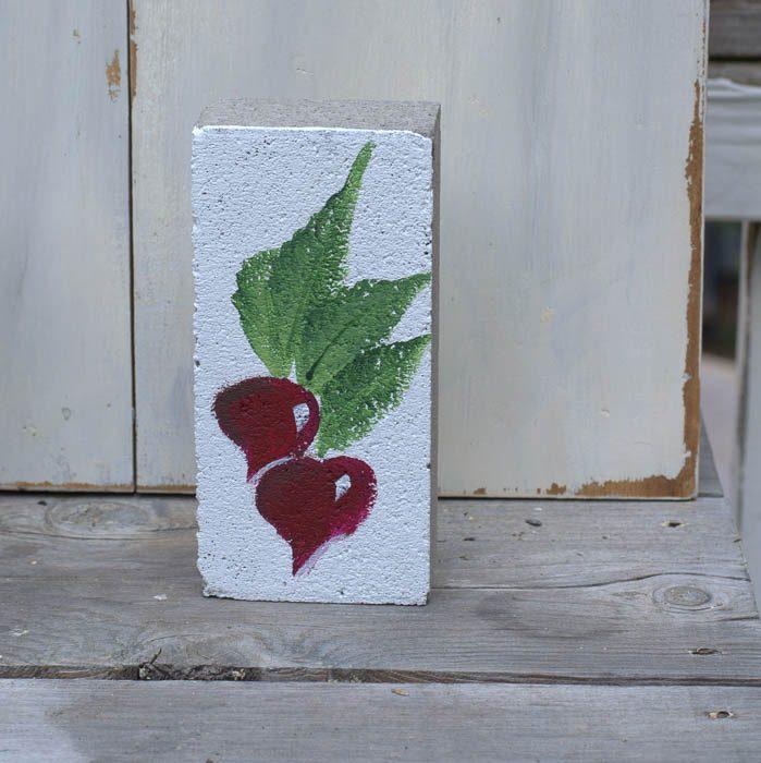 How to paint a Radish garden marker on brick, FlowerPatchFarmhouse.com