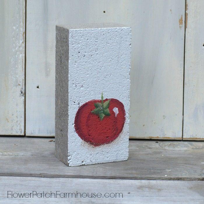 Paint a tomato garden marker on a brick, FlowerPatchFarmhouse.com