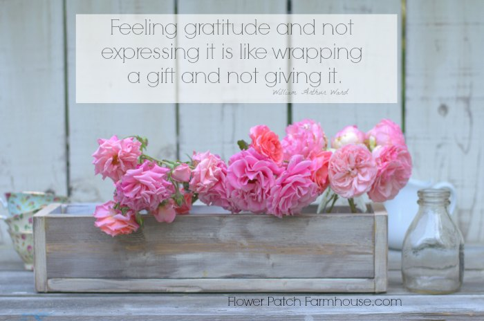 Feeling Gratitude inspirational quote, vintage crate, pink roses. FlowerPatchFarmhouse.com