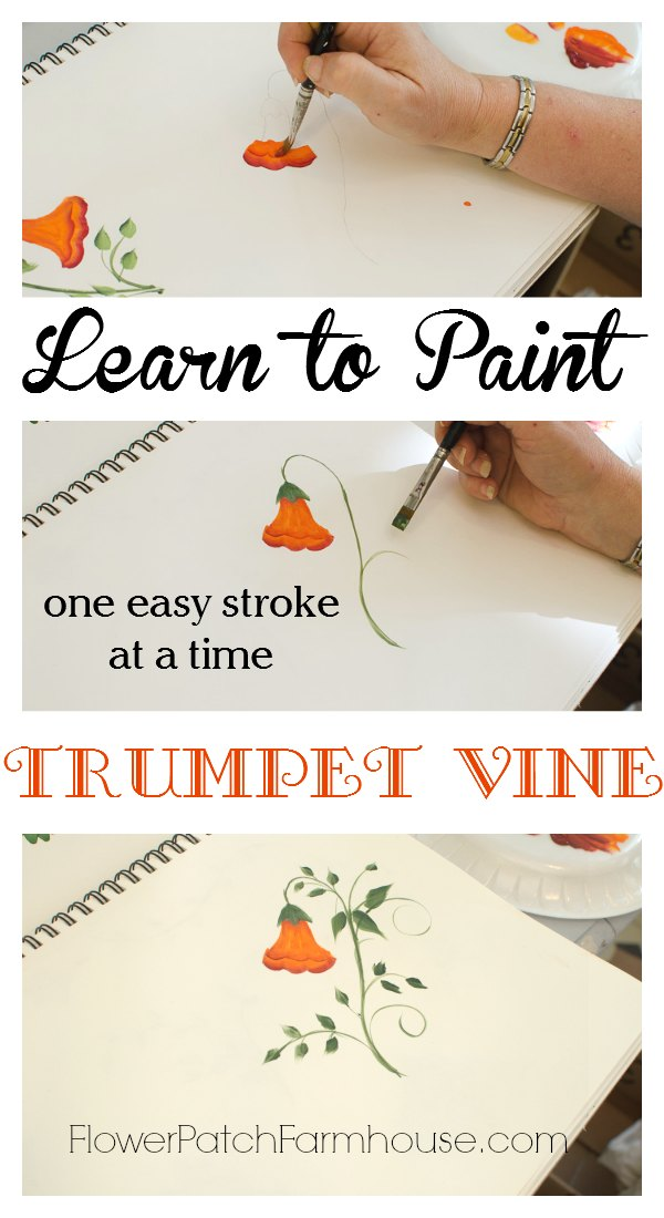 Learn how to paint beautiful trumpet vine flower patch for How to learn to paint