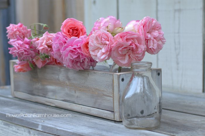 Luscious pink roses in vintage style crate box, FlowerPatchFarmhouse.com